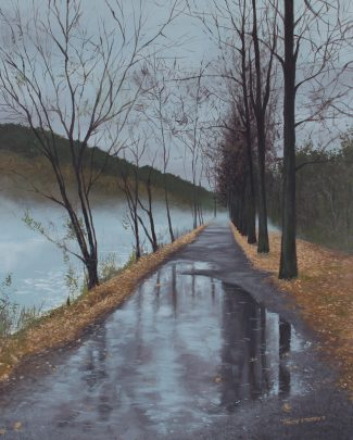 A gentle rain transforms the Lambertville towpath into a mirror that reflects the lowering clouds and lifeless trees. A cool mist drifts up from the Delaware Canal and cloaks the path ahead. A thick carpet of dead leaves on each side provides the only warmth in this dull, gray landscape.