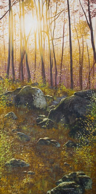 Acrylic landscape painting of Goat Hill's rocky path at sunset.