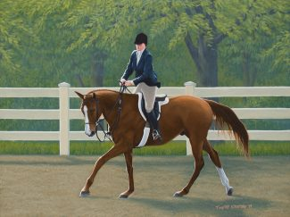 Acrylic painting of a chestnut horse cantering in a show ring with a white fence and green trees in the background.