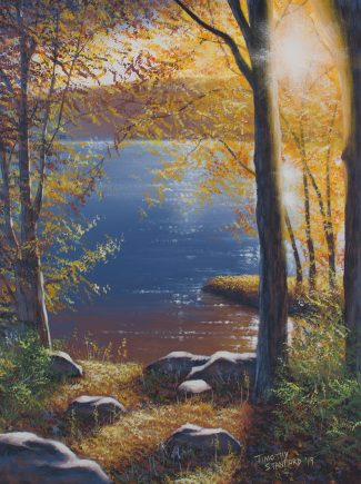 Acrylic landscape painting of a golden sunset over the Delaware river with a rock strewn bank and trees.