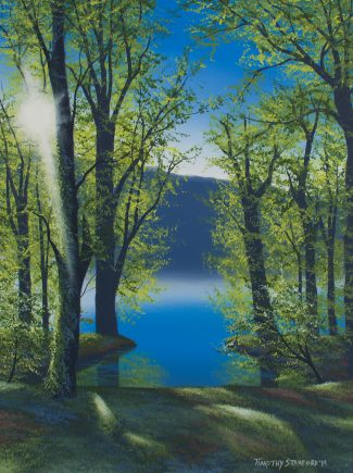 Acrylic landscape painting of an inlet along the Delaware river surrounded by tree greens at sunset.