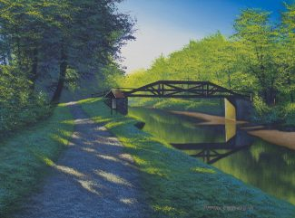 Acrylic landscape painting of the Delaware Canal towpath with Camelback Bridge at the Thompson Neily House.