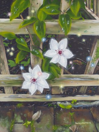 Acrylic painting of a white clematis on a greyish-brown latice with green leaves and water droplets..