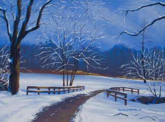 Acrylic landscape painting of one of Tyler Park's paths after a heavy snowfall.