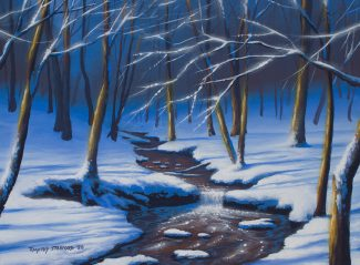 Acrylic landscape painting of a snow covered stream and waterfall in Tyler Park's after a heavy snowfall.