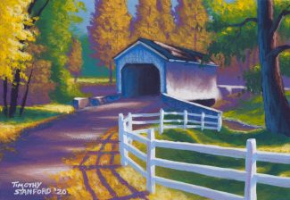 Acrylic landscape painting of Loux Covered Bridge during the fall