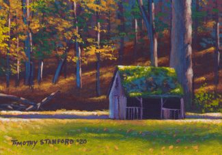 Acrylic landscape painting of an old sheep shed during the fall