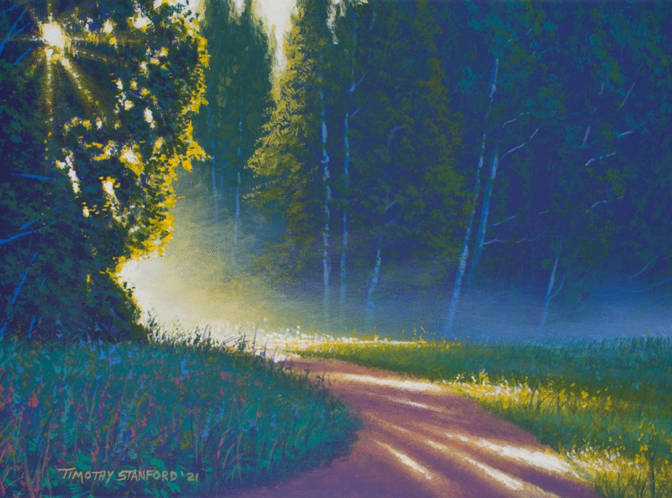 Acrylic landscape painting of a sunlit, misty morning path through a forest