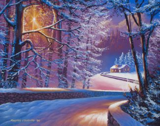 Acrylic landscape painting of a snow covered road leading to christmas cottage in the woods