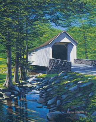 Acrylic landscape painting of Loux Covered Bridge in late spring with a creek.