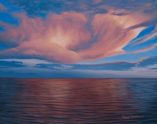 Acrylic landscape painting of a fluffy pink cloud formation reflected in calm ocean waves.