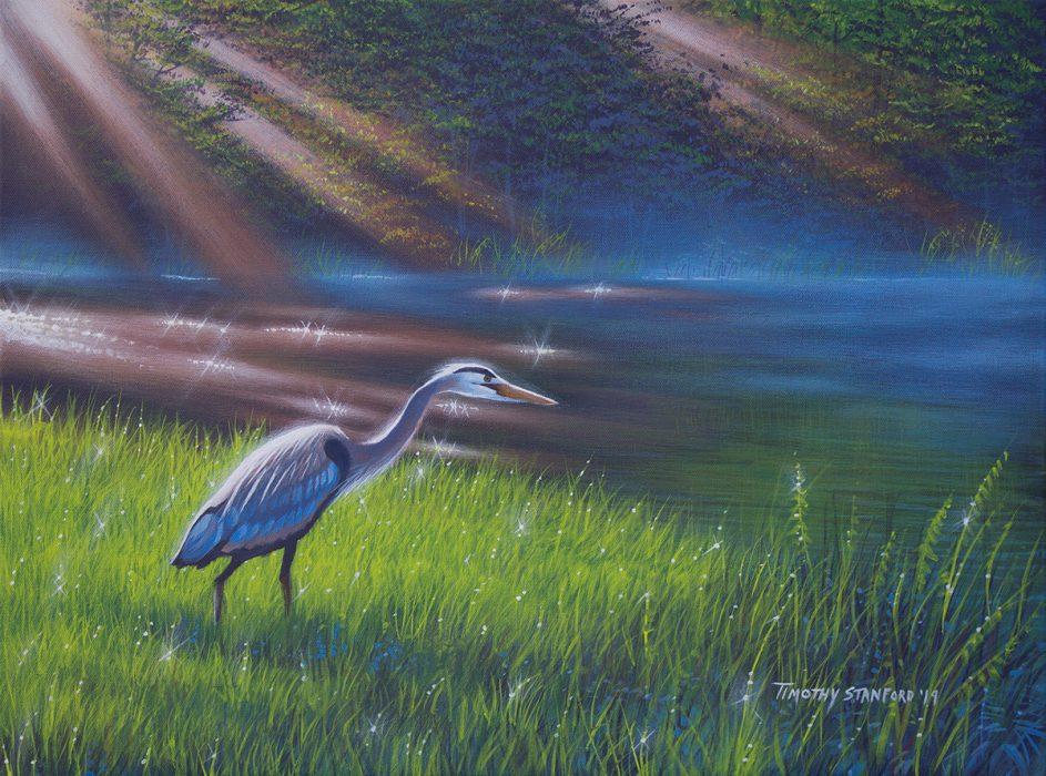 Acrylic wildlife painting of a heron standing on the green, grassy bank of the Delaware Canal with sun rays shining on the water and mist.