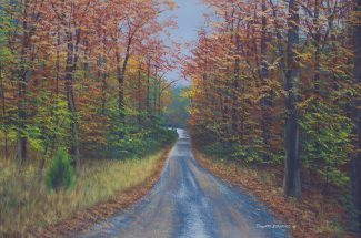 Acrylic landscape painting of the road to Goat Hill in autumn.
